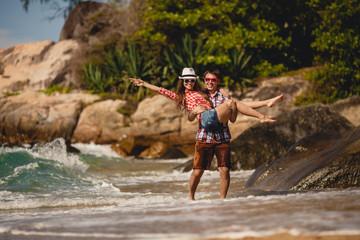 Loving couple on a tropical beach