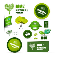 Natural Product Green Labels - Tags - Stickers Set
