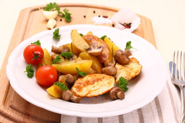 Chicken fillet with mushroom and rosemary potatoes