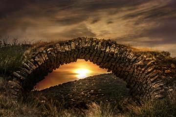Foto auf Leinwand Befestigung Archaic Castle Bridge