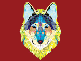 Wolf  head with geometric style