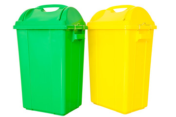 green and yellow trash on isolated white background