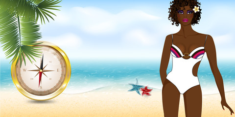 girl on the beach with compass6