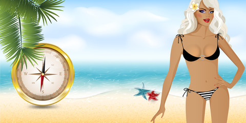 girl on the beach with compass5