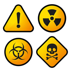 Danger Yellow Sign Icons Set
