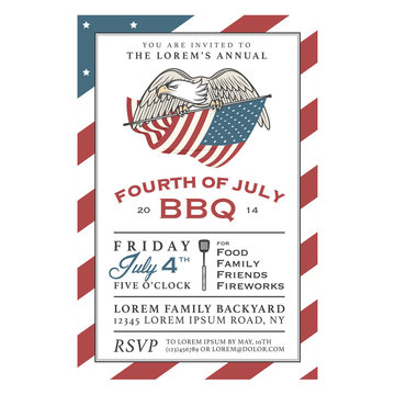 Vintage 4th of July Independence Day barbecue invitation