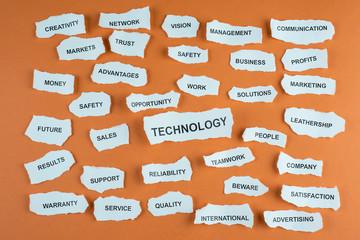 Concepto de tecnología en idioma inglés