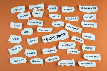 Concepto de negocios persona lider en idioma inglés