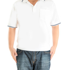 man in white polo t-shirt on a white background