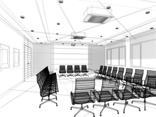 sketch design of interior conference, wire frame  3d , abstract