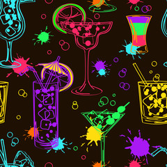 Colorful seamless pattern of cocktails
