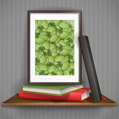 Wood Shelf With Photo Frame.