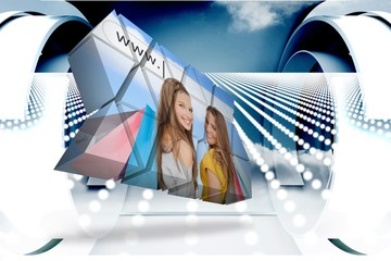 Composite image of girls shopping on abstract screen