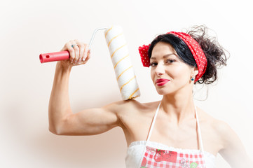 pinup woman with blue eyes holding bolster