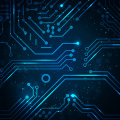 Technology background with circuit board elements.