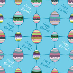 Abstract easter vector seamless background with colored eggs.