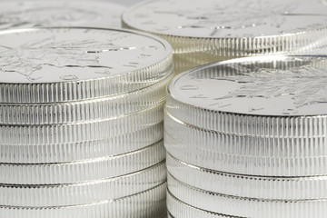 silver coins - stacked