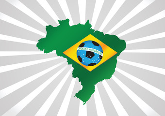 Map and Soccer foot ball  Brazil