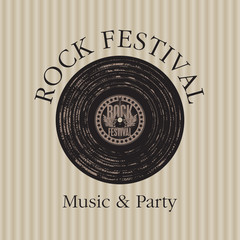banner with vinyl record on labeled rock festival