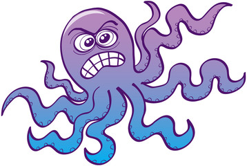 Angry octopus ready to attack