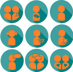 Flat set of people icons with shadow in blue and orange