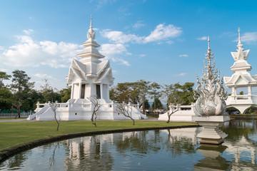 white temple  Wat Rong Khun and reflection, Chiang Rai province