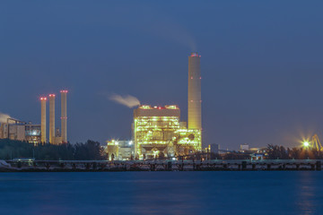 Night scene of Power plant with bay