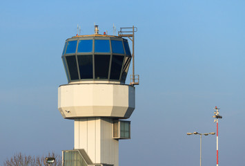 Small air traffic controle tower in the morning.