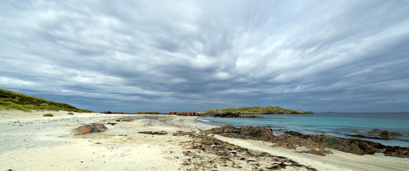 Panorama colour image of Isle of Iona beach on a cloudy day