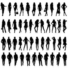 Silhouettes of happy young women  and men.