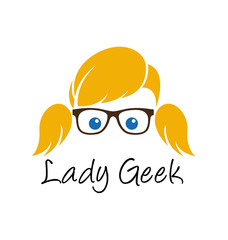Lady geek logo template