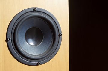 Wooden audio speaker, close up