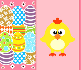 Easter background card with eggs and funny chicken ,pink