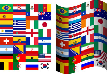Flags of participating countries at the World Cup in Brazil