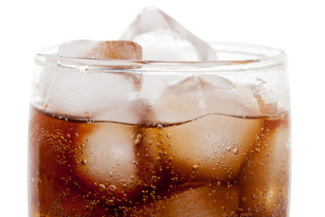 Close up view of the cola in glass