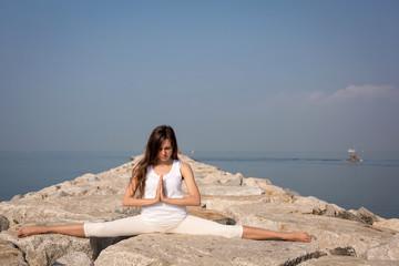 Beautiful young woman practicing yoga. Samakonasana