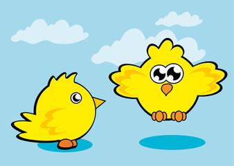 Creative cartoon design of yellow Chicken baby.