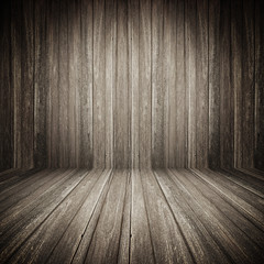 Fototapete - Dark brown wooden room background