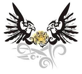 Eagle symbol with leopard head