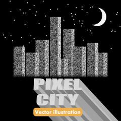 Vector vintage 8-bit cityscape background
