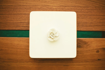 White clay interior decoration on a table in the living room