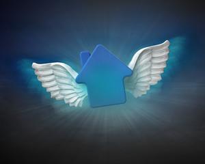 house with angelic wings flight in dark sky