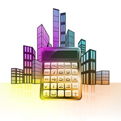 business calculator with colorful cityscape silhouette vector