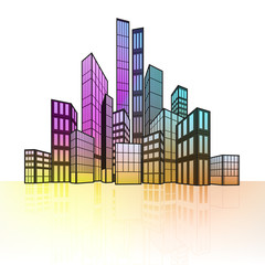 colorful cityscape silhouette with ground reflection vector