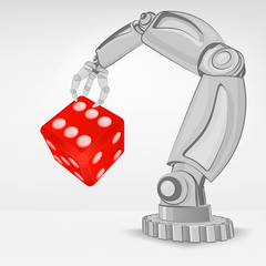 lucky dice hold by automated robotic hand vector