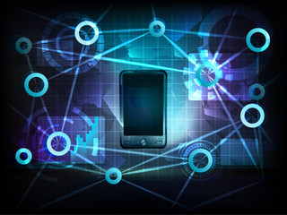 smart phone in business world transfer network vector