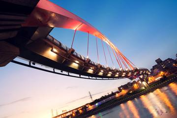 City night scenery with beautiful bridge