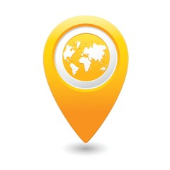 Map pointer with earth globe icon