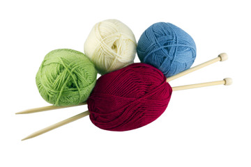 colored skeins and knitting