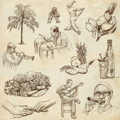 CUBA_2. Full sized hand drawn illustrations on old paper
